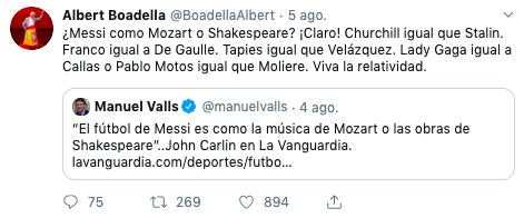 tuit de humor de Albert Boadella sobre unas declaraciones de Manuel Valls