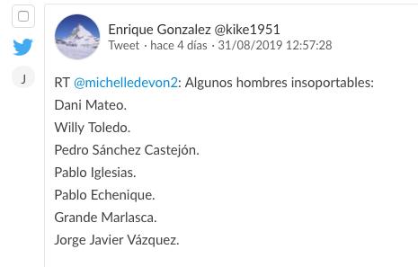 tuit crítico hacia Jorge Javier de carácter político