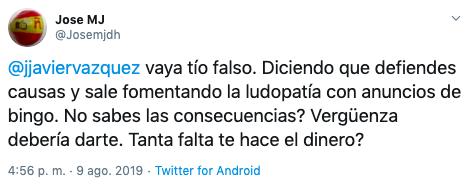 tuit crítico hacia Jorge Javier por ceder su imagen para negocio de bingo online