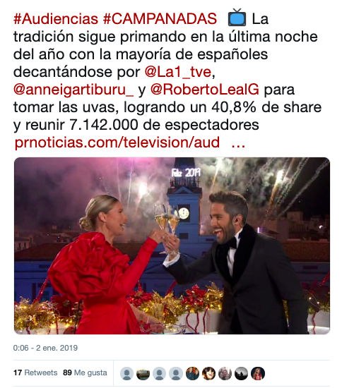 Anne Igartiburu y Roberto Leal repiten este año como presentadores de las Campanadas en TVE