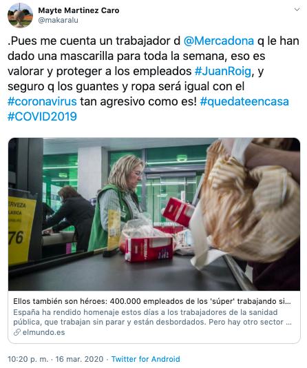 Post crítica de falta de protección empleados de supermercados